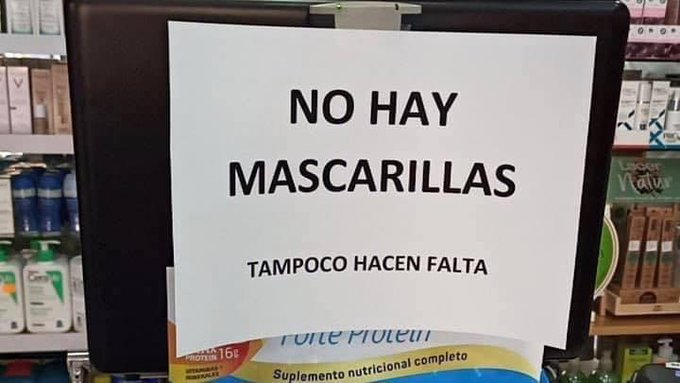 Cartel farmacia aviso mascarillas