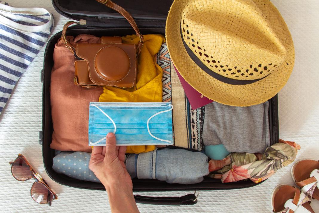 viaje, maleta, mascarilla, productos, venta